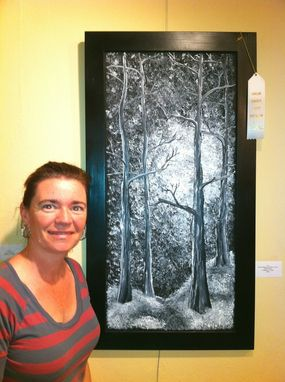Custom Made Tall Black And White Forest Panel
