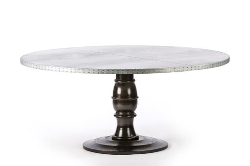 Custom Made Zinc Table Zinc Dining Table - The Providence Round Zinc Top Dining Table