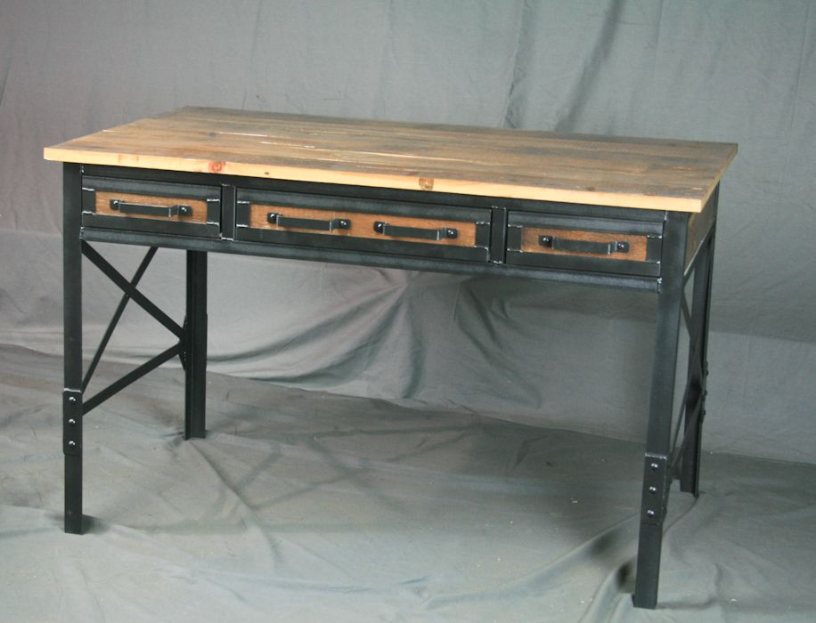 Custom Made Rustic Reclaimed Wood Desk With Drawers Vintage Barnwood And Steel