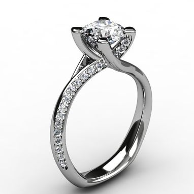 Custom Made Diamond Cross-Over Designed Engagement Ring