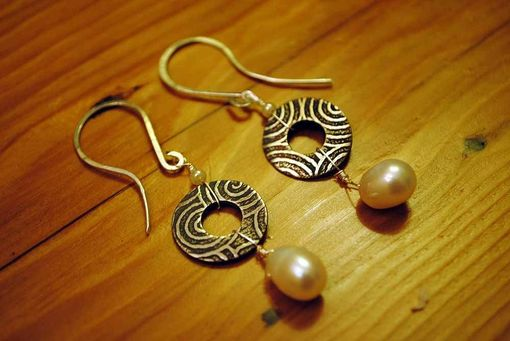 Custom Made Silver Circle And Pearl Earrings