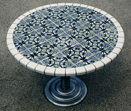 Custom Made 4' Round Tile Table With Metal Base