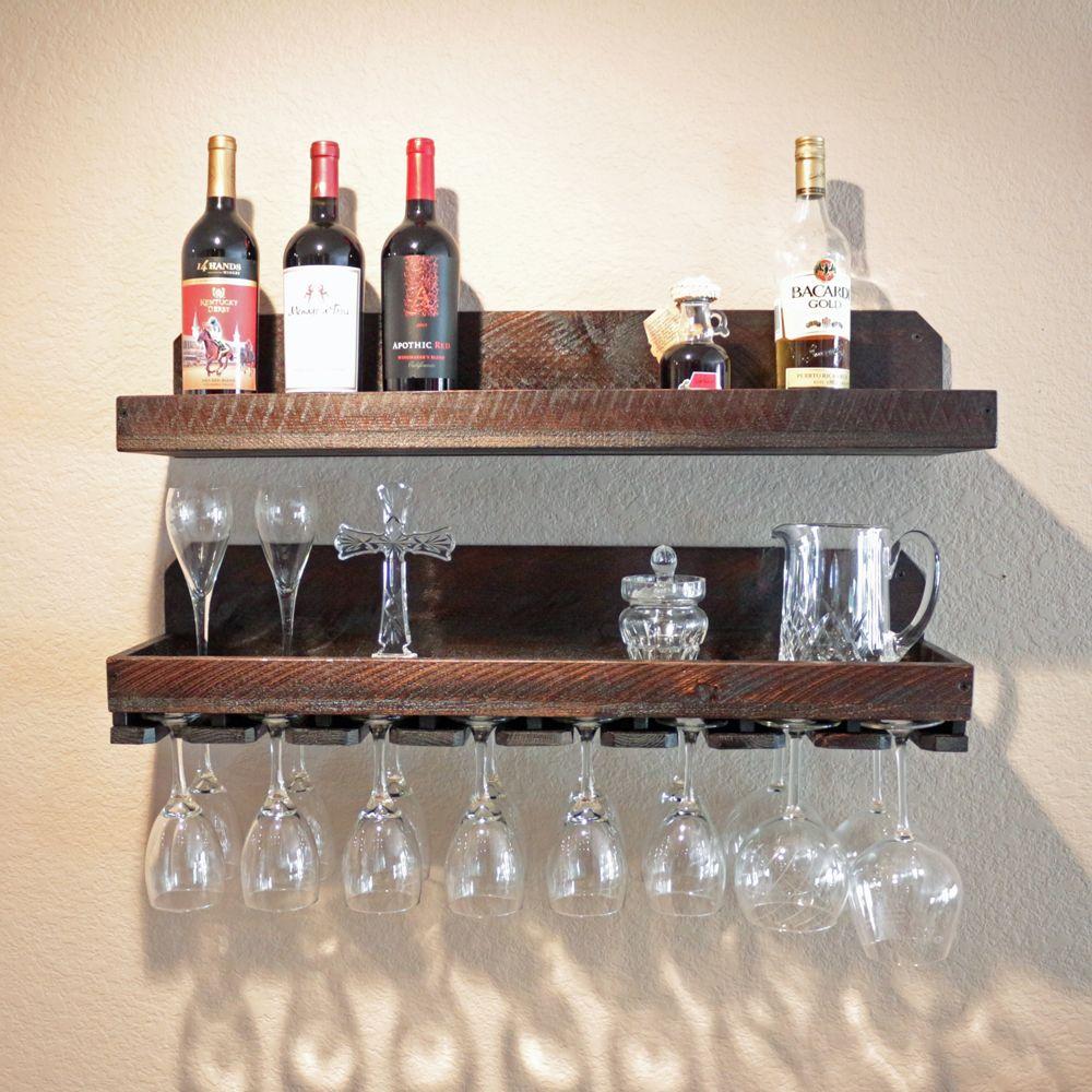 Buy A Custom Wall Wine Rack Glass Holder With Shelf Rustic Wine