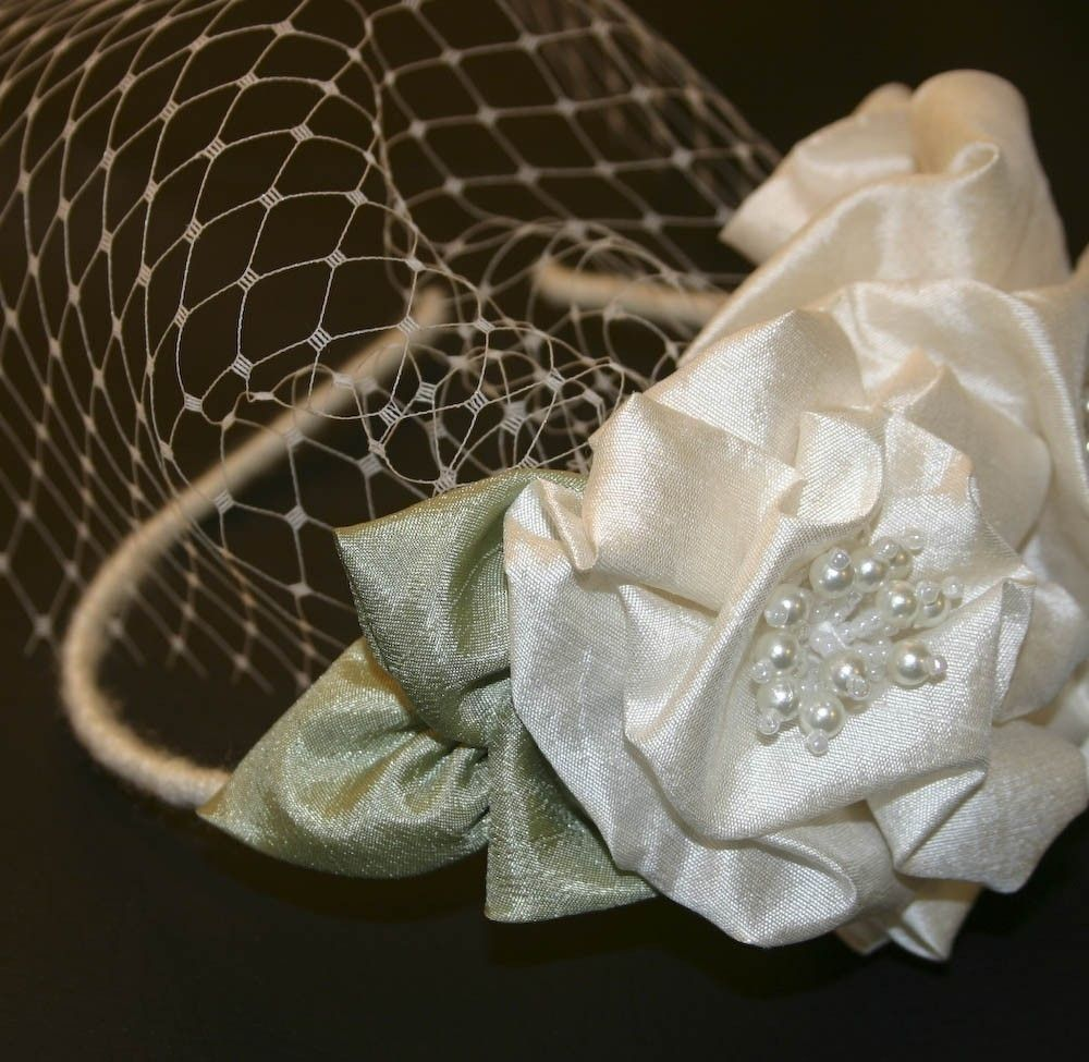 Hand Crafted Flower Headband With Big Silk Flowers And A Birdcage