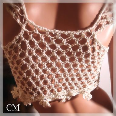 Custom Made Captivating Crochet Cotton Shrug Top With Cap Sleeves