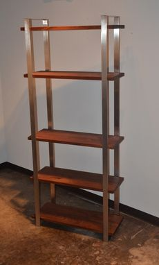 Custom Made American Walnut And Stainless Steel Book Shelf