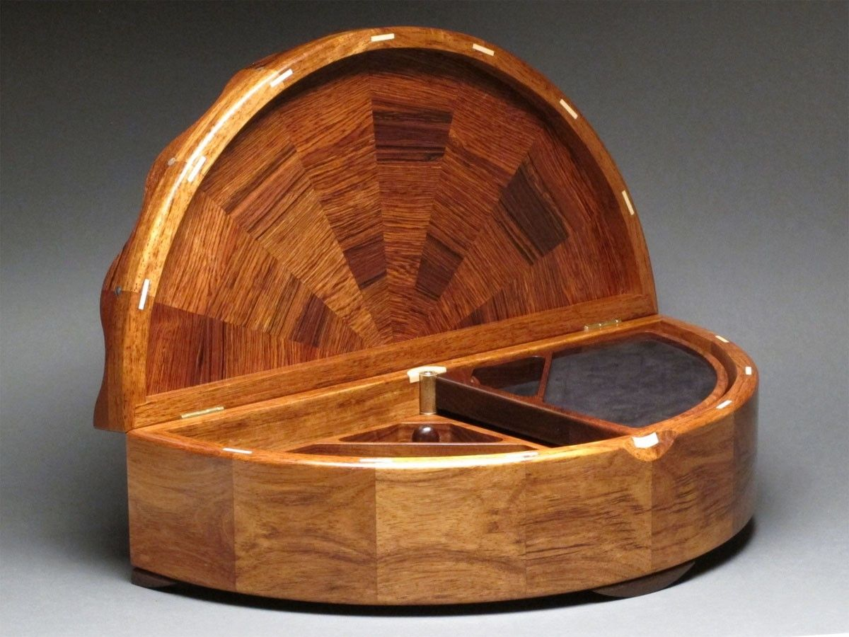 Custom Carved Rosewood Jewelry Box With Rotating Trays By