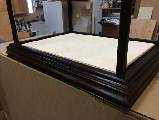 Custom Made Wood And Glass Display Case With Base - Peruvian Walnut - Other Woods Available