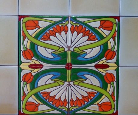 Custom Made Art Nouveau Repetitive Pattern Vibrant Green Tile Mural