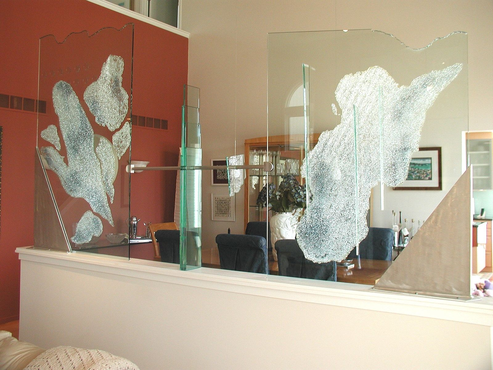 hand crafted glass room dividerjulie mcdonough architectural