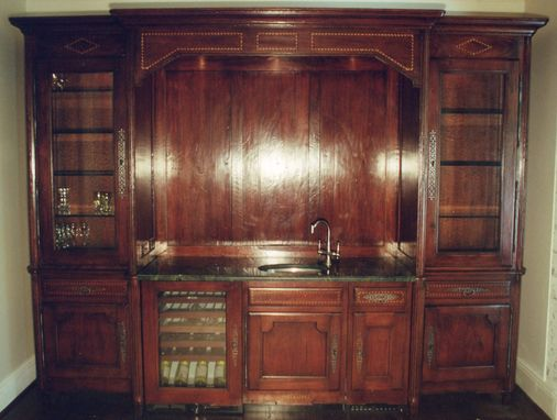 Custom Made Wet Bar In Butternut / Multible Inlays & Marble