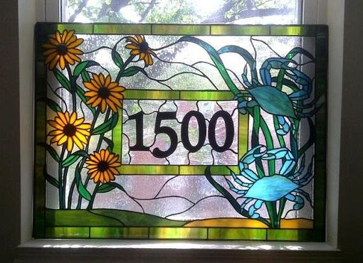 Custom Made Stained Glass Window - Crabs And Black Eyed Susans - Transom  With House Numbers (Am-25)