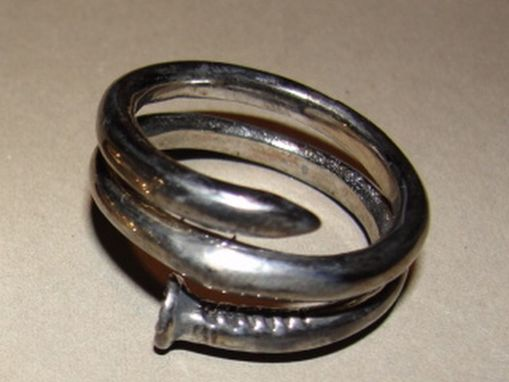 Custom Made Antiqued Sterling Silver Nail Ring