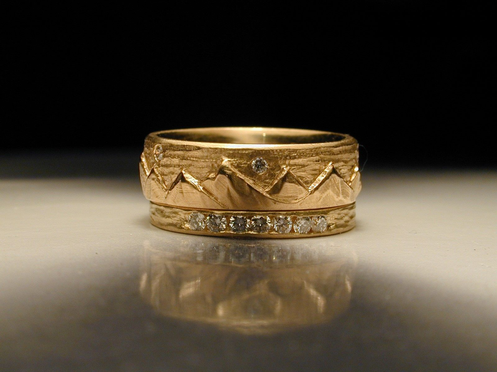 Custom Made Women S Hand Carved Mountain Wedding Ring