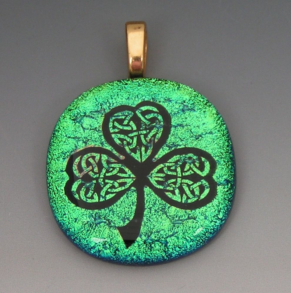 Buy a custom made laser etched dichroic fused glass shamrock pendant custom made laser etched dichroic fused glass shamrock pendant audiocablefo