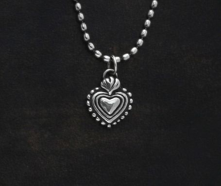 Custom Made Lucky Charm Milagro Heart In Sterling Silver.