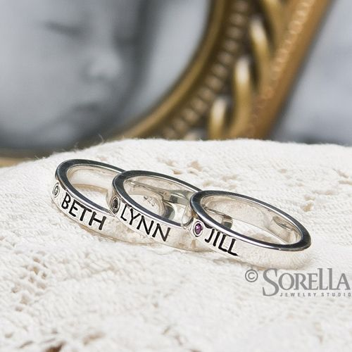 Buy A Custom Personalized Stackable Mothers Ring With Birthstone In