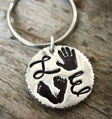 Custom Made Your Baby's Handprint Or Footprint Keychain