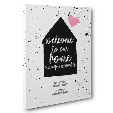 Custom Made Welcome To Our Home Wifi Password Sign Canvas Wall Art