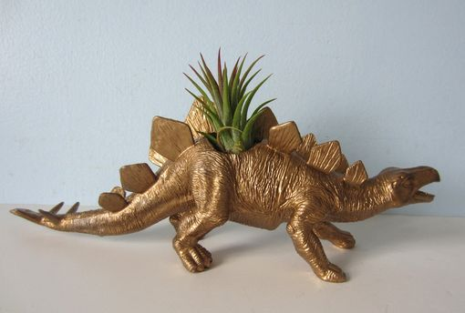 Custom Made Upcycled Dinosaur Planter - Gold Stegosaurus With Air Plant