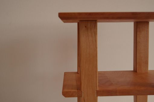 Custom Made Cherry Asian Side Table With Shelf