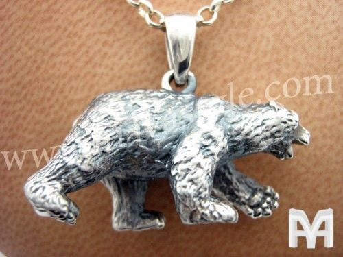 Handmade sterling silver polar bear pendant by mava style custom made sterling silver polar bear pendant aloadofball Images