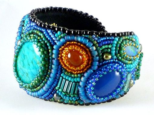 Custom Made Bead Embroidered Cuff Bracelet Made To Order Detailed Artistic Jewelry And Beadwork