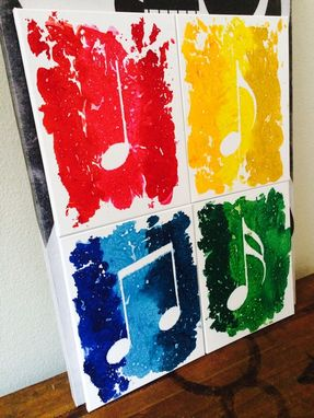 Custom Made Colorful 4 Piece Music Notes Made From Melted Crayolas!
