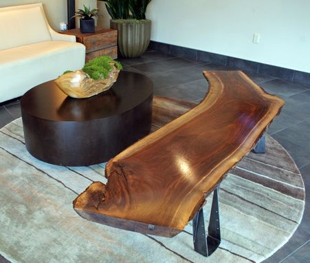 Custom Made Custom Black Walnut Slab Bench Or Coffee Table With Live Edge