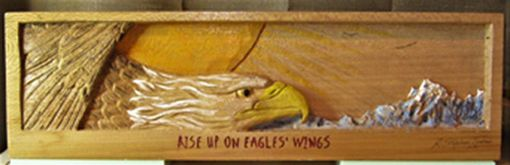 "Custom Made ""On Eagles' Wings"" Shadowbox Inspirational Relief Carving In Sycamore"