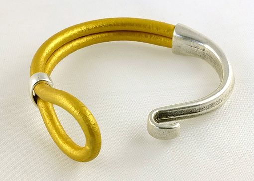 Custom Made Gold And Silver Licorice Leather Hook Bracelet Cuff