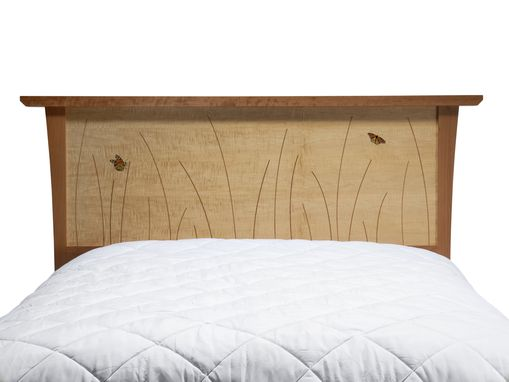Custom Made Queen Bed Frame, Wood Headboard, Platform Bed, Handmade, Cherry, Curly Maple, Inlay, Bedroom