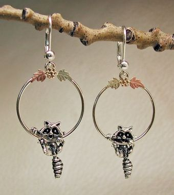 Custom Made Black Hills Gold On Silver Raccoon Hoop Ball Lever Back Earring