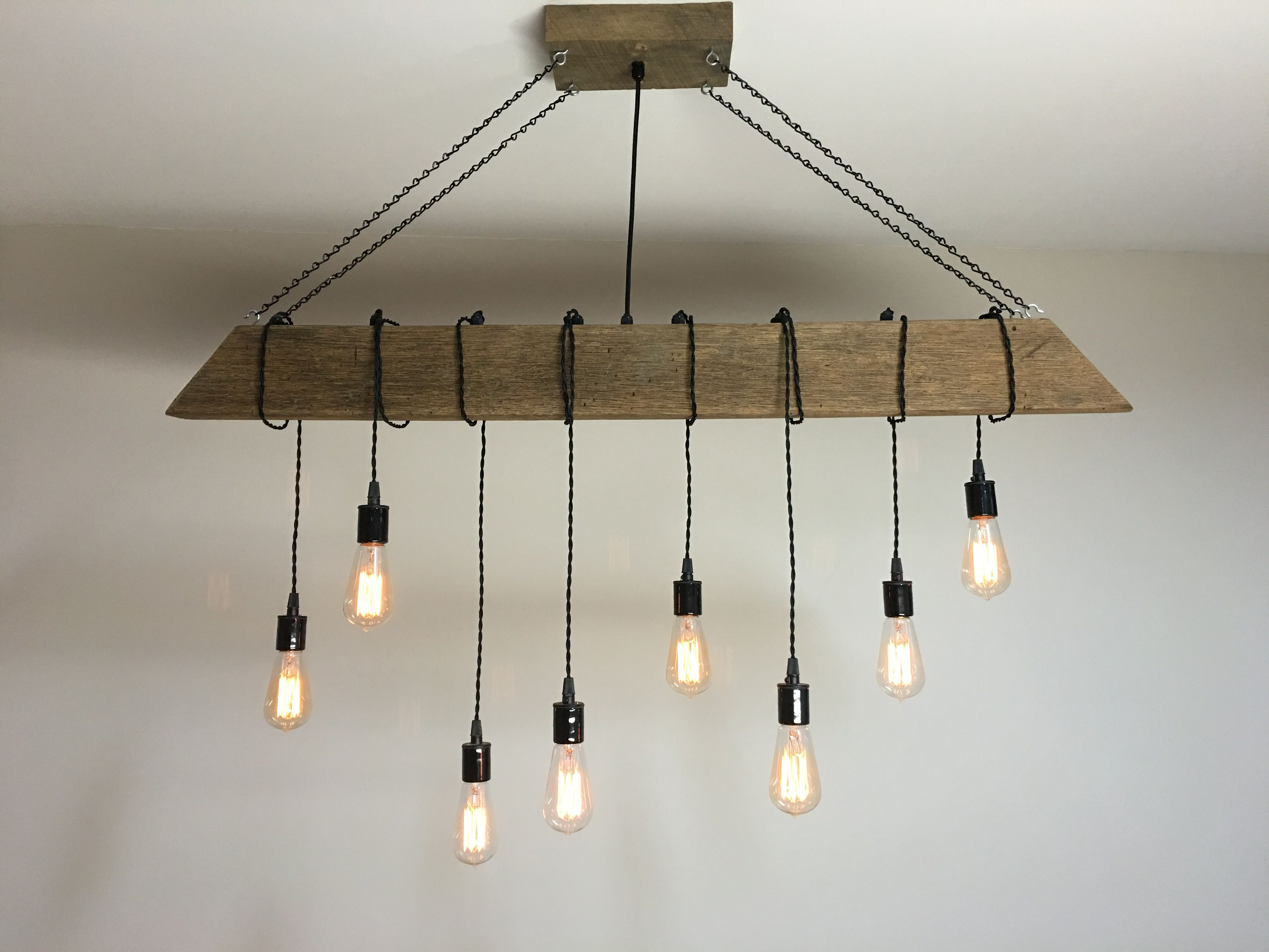 Buy a Custom Reclaimed Barn Beam Light Fixture Bar Restaurant