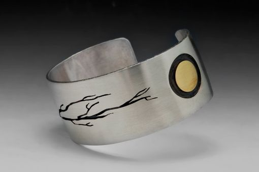 Custom Made Raven Bracelet With Tree, Sterling Silver Cuff, Mens, Unisex, Bird