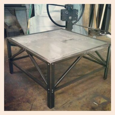 Custom Made Industrial Inspired Steel Coffee Table