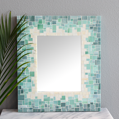 Custom Made Decorative Beach Style Sunburst Mosaic Wall Mirror In Stained Glass, Various Sizes
