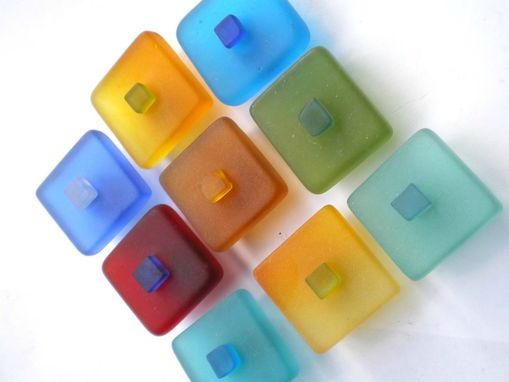 Custom Made Tumbled Glass Square Cabinet Knobs