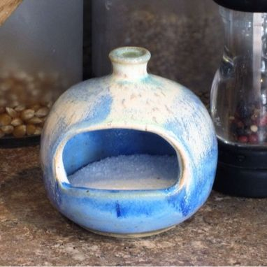 Custom Made Pottery Salt Pig In Blue And White
