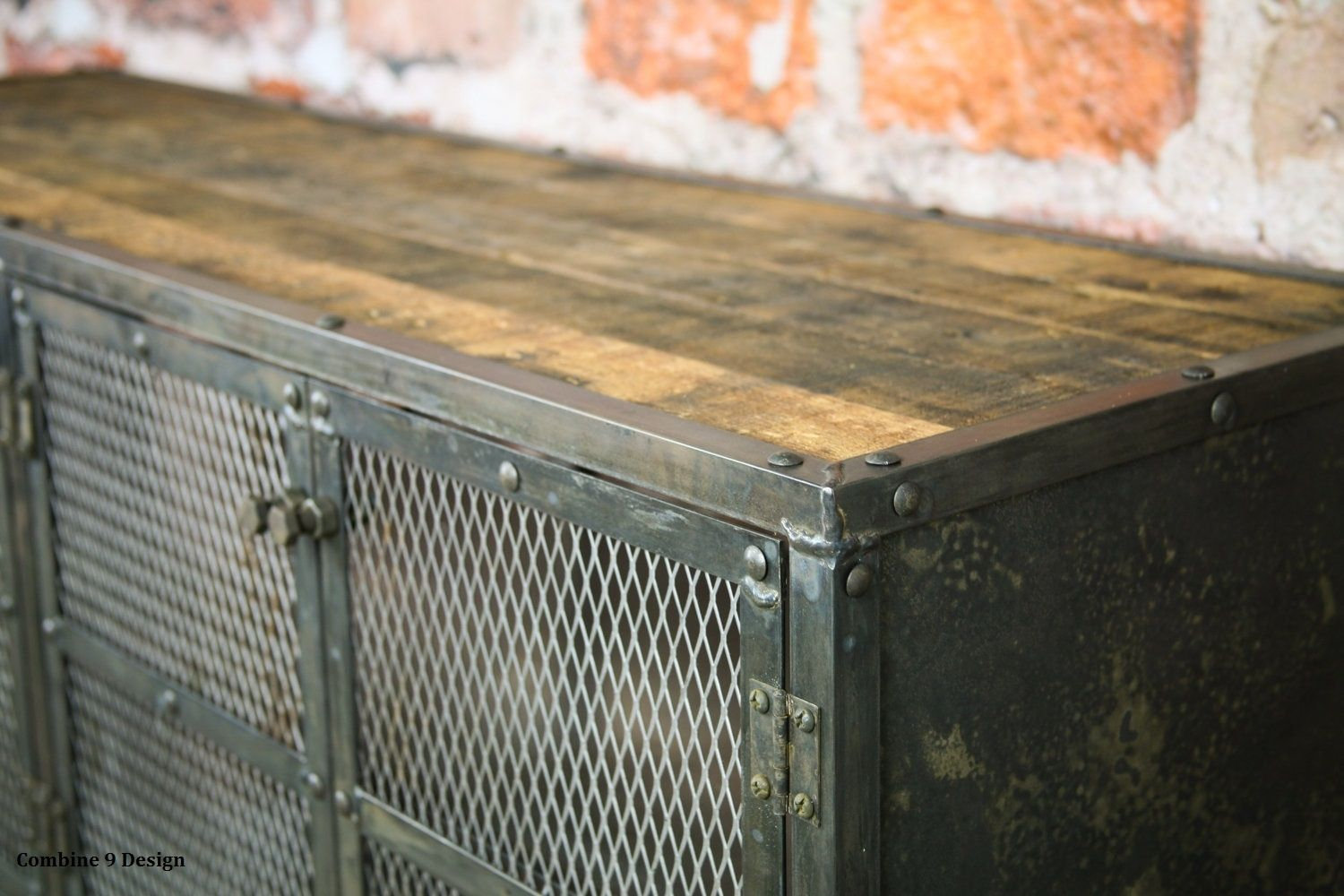 Buy A Hand Crafted Buffet Hutch Vintage Industrial Urban Modern Design Reclaimed Wood Media Console Made To Order From Combine 9