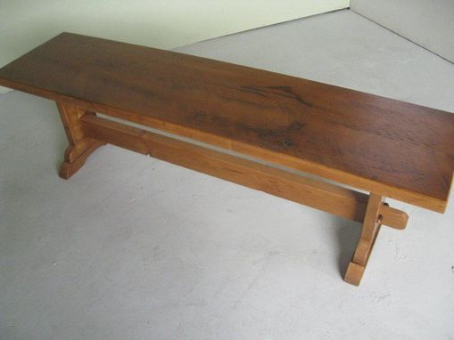 Custom Made Thick Oak Bench With Trestle Base