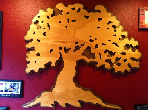 Custom Made Private Commission Layered Oak Tree Silhouette