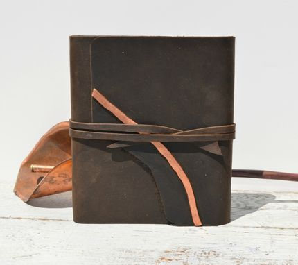 Custom Made Handmade Brown Leather Bound Journal Travel Adventure Diary Watercolor Art Notebook Ledger