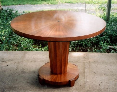 Custom Made Contemporary Center / Entry Table In Sapele With Black Trim