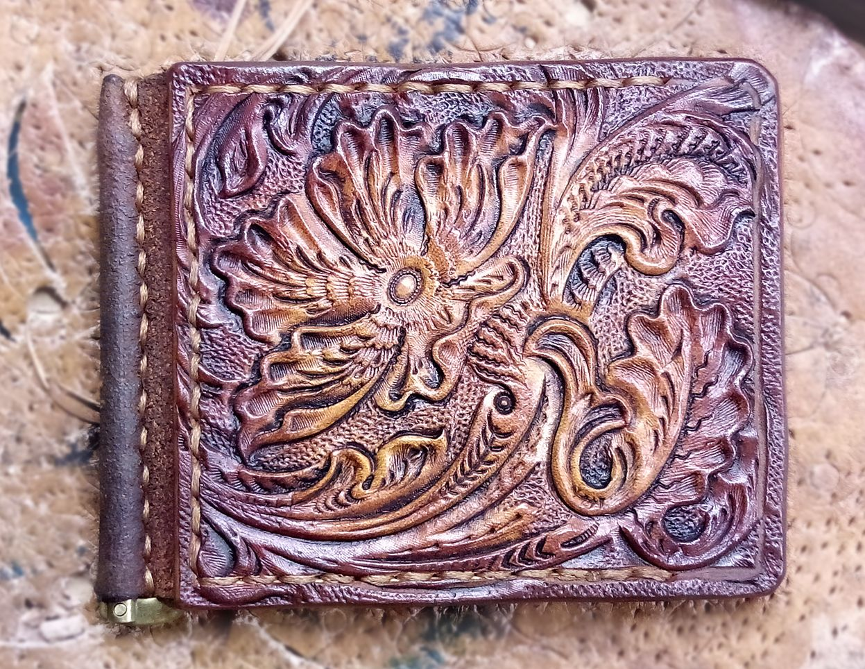 Buy Hand Made Tooled Money Clip Sheridan Floral Leather Carved Ms
