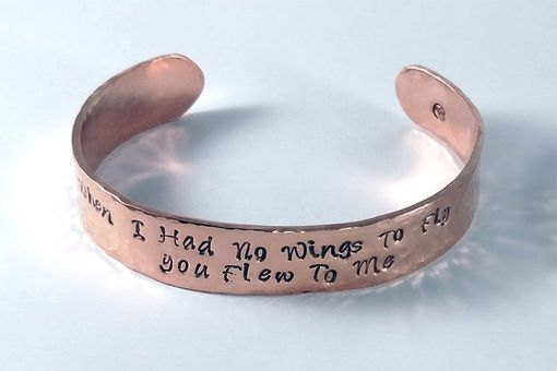 Custom Made Rustic Hammered Copper Cuff With Hand Stamped Message Or Quote