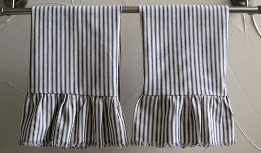 Custom Ruffled Linen And Cotton Hand Towels With Frayed