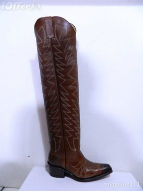 Custom Made Brown Woman 23 Inch Tall Boots Vintage Finish Leather Hand Made Decorative Stitchin