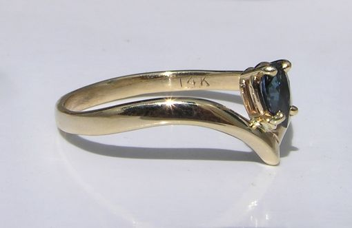 Custom Made Unique Sapphire Ring - Marquis Shaped Sapphire Bird Wing Design Motif Handmade 14k Gold