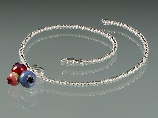 Custom Made Glass Triple Blueberry Pendant Slider On Sterling Silver Wheat Chain